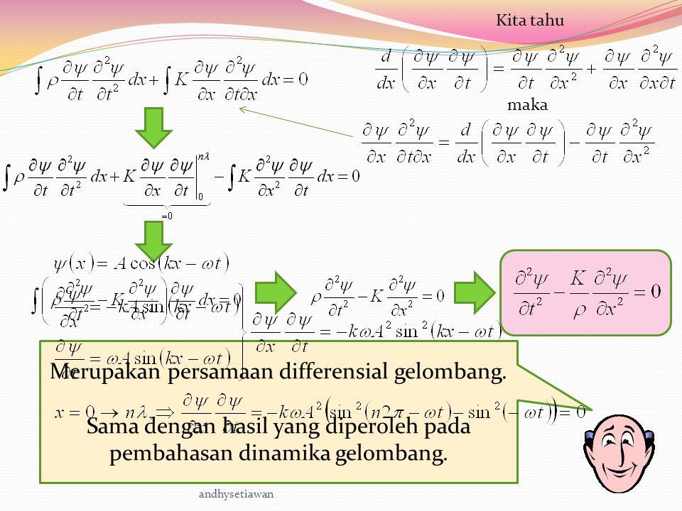 maka Kita tahu Merupakan persamaan differensial gelombang.