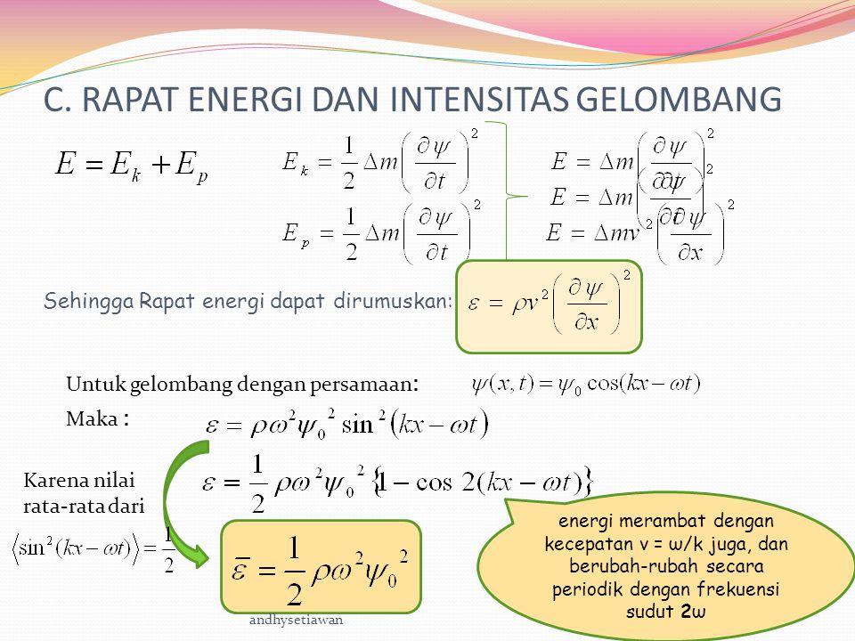Untuk gelombang dengan persamaan : Dari rapat energi ini, dapat diturunkan rapat daya persatuan luas penampang atau rapat arus energi (Intensitas) Dari rapat energi rata-rata Maka : Dapat diturunkan rapat daya rata-rata persatuan luas penampang atau rapat arus energi rata-rata (Intensitas rata-rata) andhysetiawan