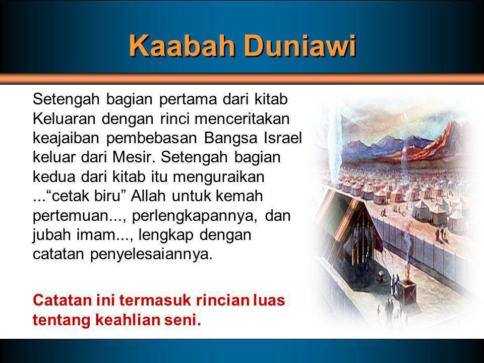 Kaabah Duniawi Setengah bagian pertama dari kitab Keluaran dengan rinci menceritakan keajaiban pembebasan Bangsa Israel keluar dari Mesir. Setengah ba