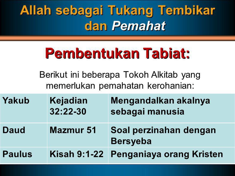 Berikut ini beberapa Tokoh Alkitab yang memerlukan pemahatan kerohanian: Allah sebagai Tukang Tembikar dan Pemahat Pembentukan Tabiat: YakubKejadian 3