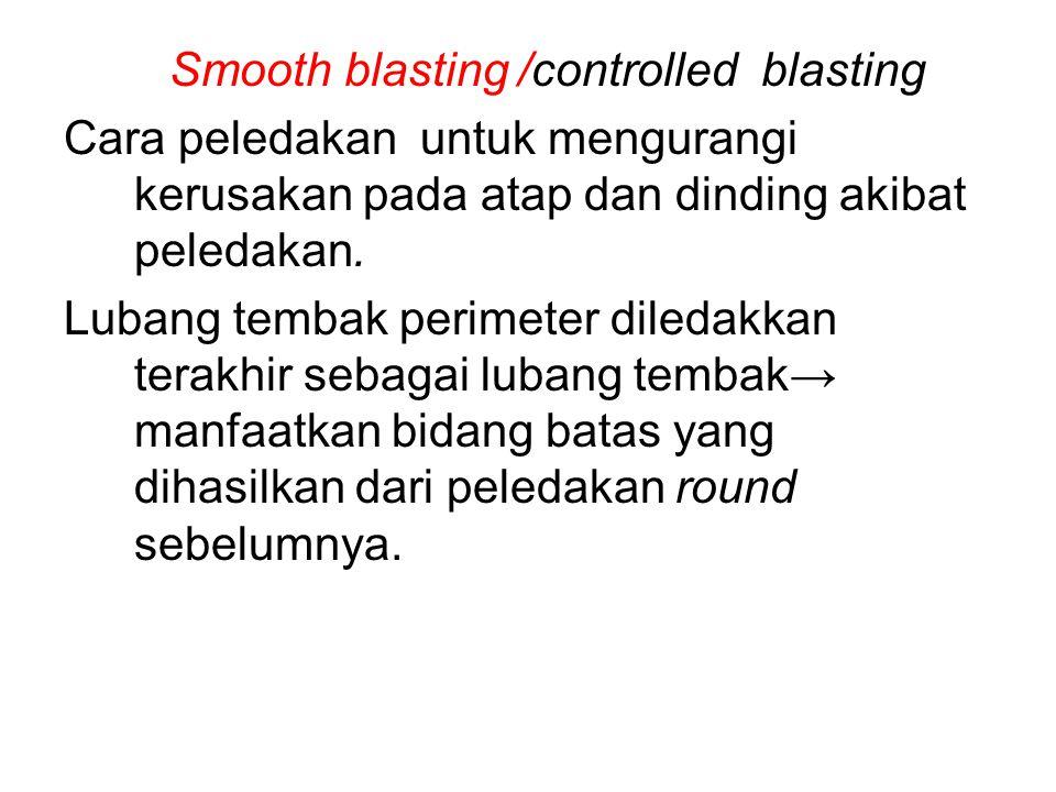 Smooth blasting /controlled blasting Cara peledakan untuk mengurangi kerusakan pada atap dan dinding akibat peledakan. Lubang tembak perimeter diledak