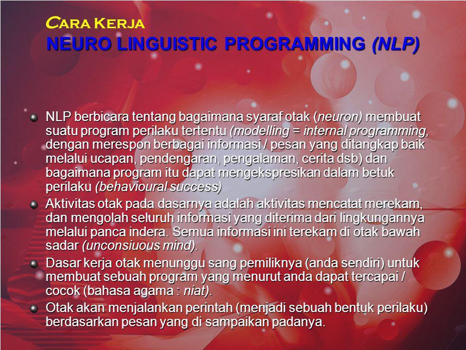 NEURO LINGUISTIC PROGRAMMING (NLP) NLP berbicara tentang bagaimana syaraf otak (neuron) membuat suatu program perilaku tertentu (modelling = internal