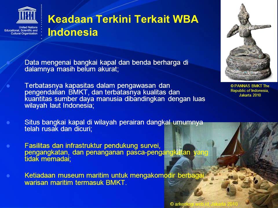 Keadaan Terkini Terkait WBA Indonesia Data mengenai bangkai kapal dan benda berharga di dalamnya masih belum akurat; Terbatasnya kapasitas dalam penga