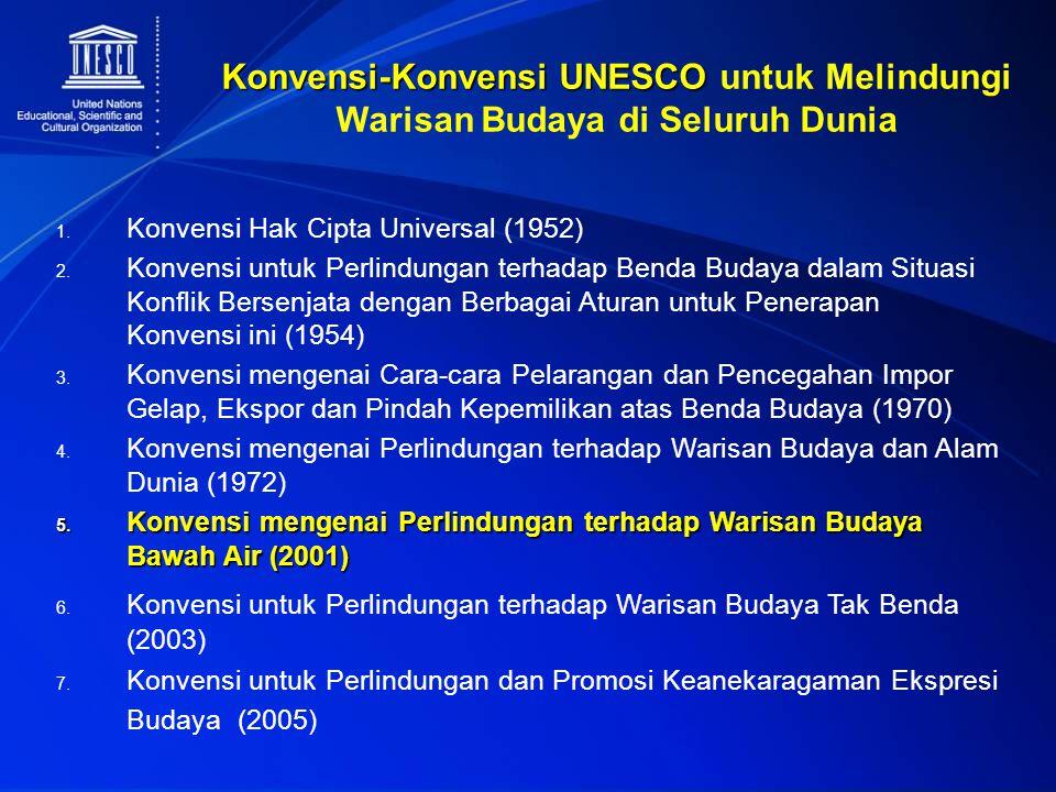 Konvensi-Konvensi UNESCO Konvensi-Konvensi UNESCO untuk Melindungi Warisan Budaya di Seluruh Dunia 1. Konvensi Hak Cipta Universal (1952) 2. Konvensi