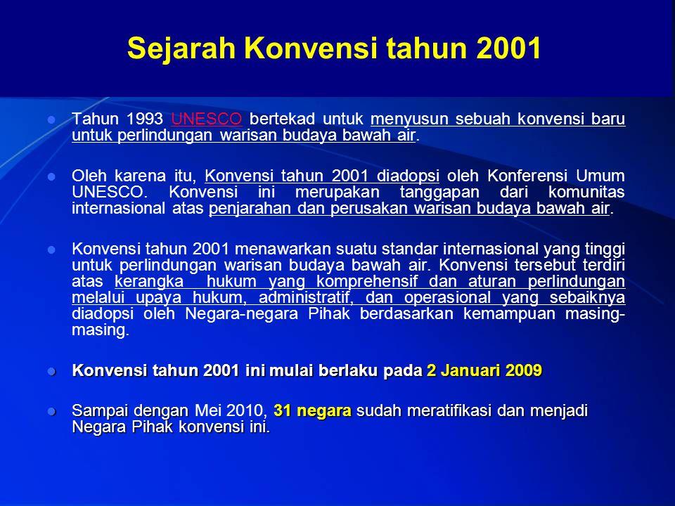 Sejarah Konvensi tahun 2001 Tahun 1993 UNESCO bertekad untuk menyusun sebuah konvensi baru untuk perlindungan warisan budaya bawah air.UNESCO Oleh kar