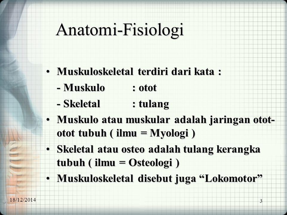 3 Anatomi-Fisiologi Muskuloskeletal terdiri dari kata :Muskuloskeletal terdiri dari kata : - Muskulo: otot - Skeletal: tulang Muskulo atau muskular ad
