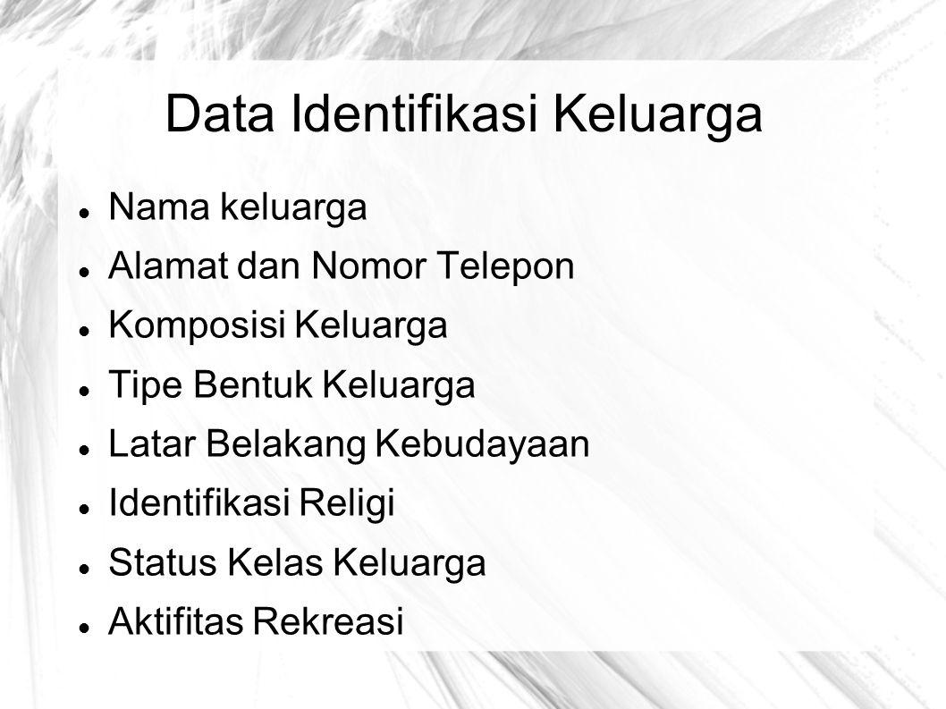 Data Identifikasi Keluarga Nama keluarga Alamat dan Nomor Telepon Komposisi Keluarga Tipe Bentuk Keluarga Latar Belakang Kebudayaan Identifikasi Relig