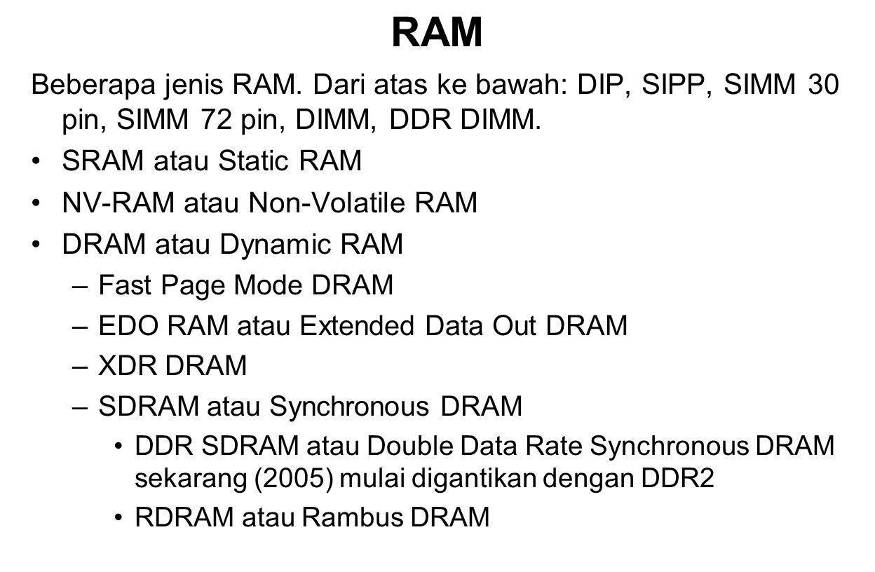 RAM Beberapa jenis RAM. Dari atas ke bawah: DIP, SIPP, SIMM 30 pin, SIMM 72 pin, DIMM, DDR DIMM. SRAM atau Static RAM NV-RAM atau Non-Volatile RAM DRA