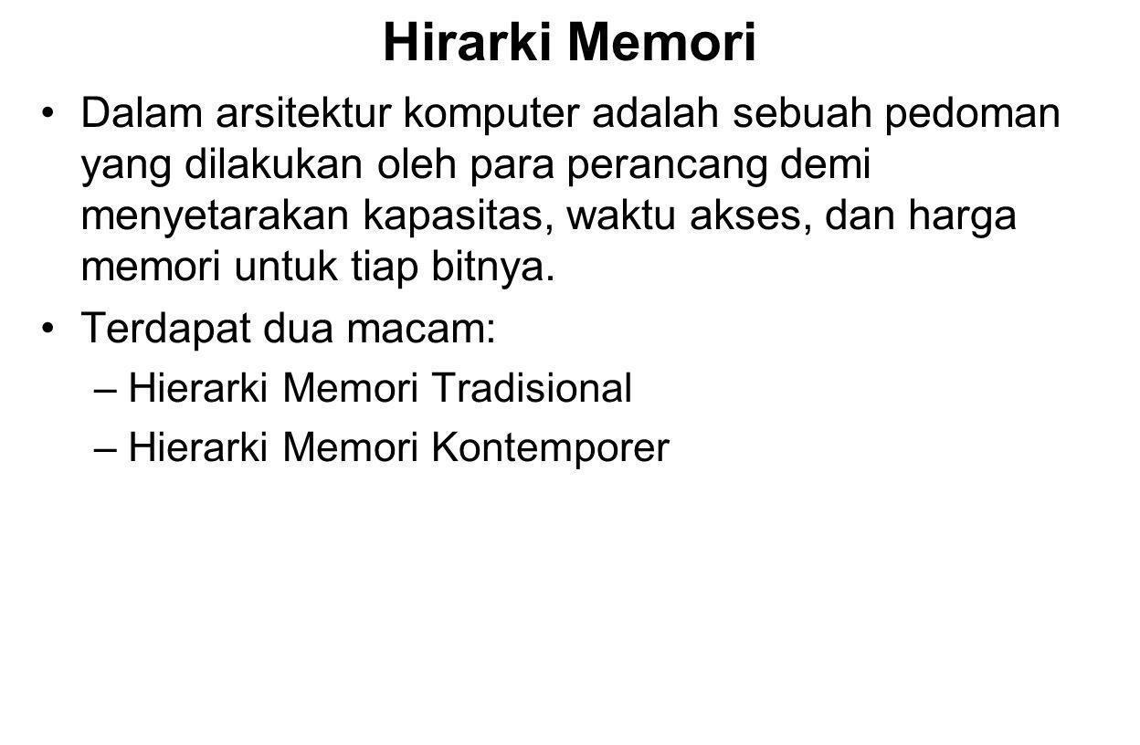 Hirarki Memori Dalam arsitektur komputer adalah sebuah pedoman yang dilakukan oleh para perancang demi menyetarakan kapasitas, waktu akses, dan harga memori untuk tiap bitnya.