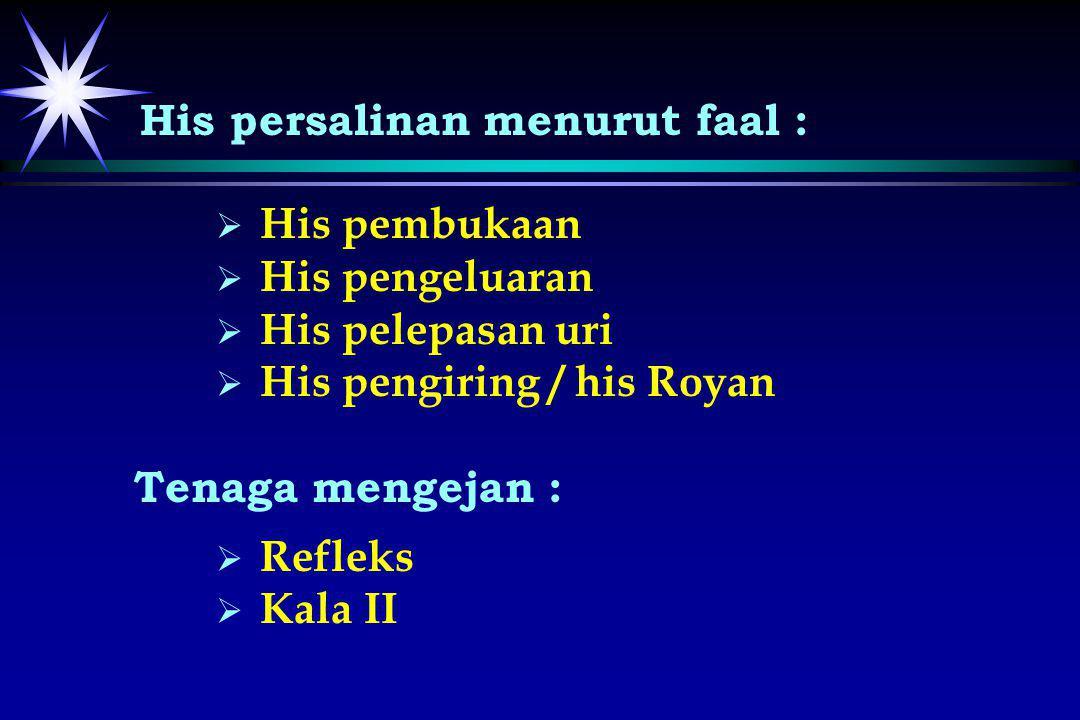 His persalinan menurut faal :   His pembukaan   His pengeluaran   His pelepasan uri   His pengiring / his Royan Tenaga mengejan :   Refleks