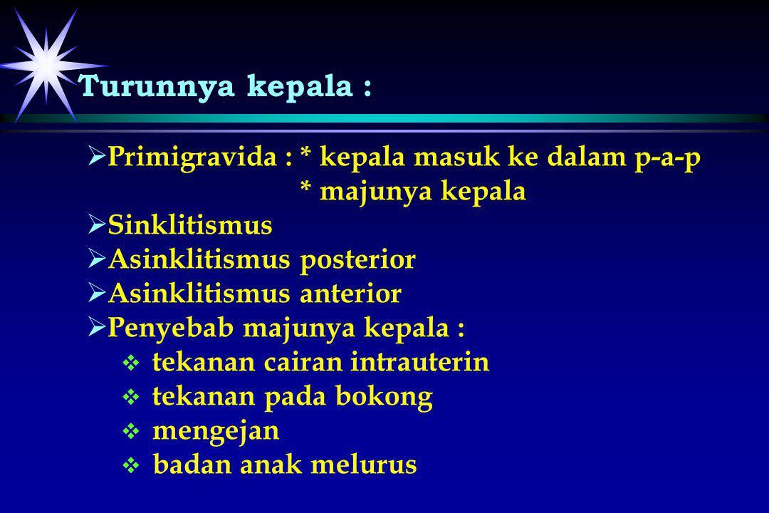   Primigravida : * kepala masuk ke dalam p-a-p * majunya kepala   Sinklitismus   Asinklitismus posterior   Asinklitismus anterior   Penyebab