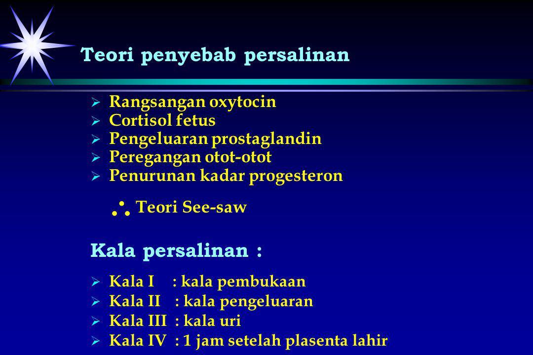   Rangsangan oxytocin   Cortisol fetus   Pengeluaran prostaglandin   Peregangan otot-otot   Penurunan kadar progesteron Teori See-saw Kala p