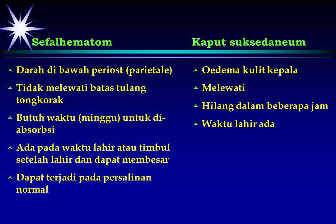 © © Darah di bawah periost (parietale) © © Tidak melewati batas tulang tongkorak © © Butuh waktu (minggu) untuk di- absorbsi © © Ada pada waktu lahir