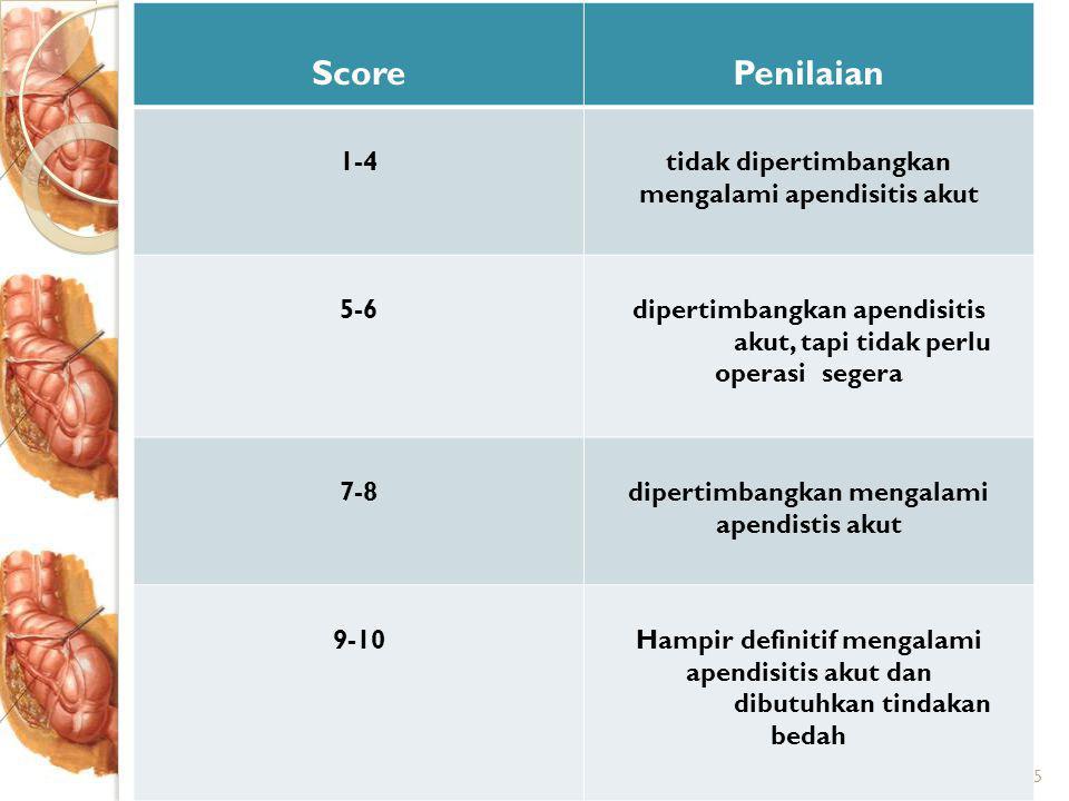 15 ScorePenilaian 1-4tidak dipertimbangkan mengalami apendisitis akut 5-6dipertimbangkan apendisitis akut, tapi tidak perlu operasi segera 7-8dipertimbangkan mengalami apendistis akut 9-10Hampir definitif mengalami apendisitis akut dan dibutuhkan tindakan bedah