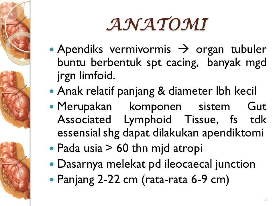 ANATOMI Apendiks vermivormis  organ tubuler buntu berbentuk spt cacing, banyak mgd jrgn limfoid.