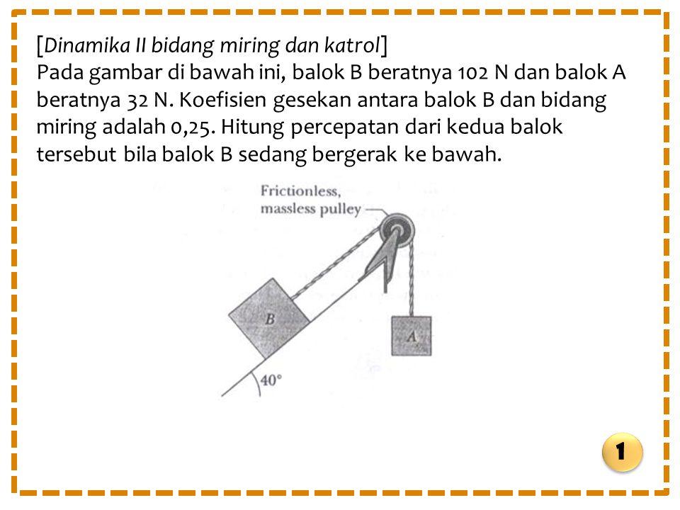 [Dinamika II bidang miring dan katrol] Pada gambar di bawah ini, balok B beratnya 102 N dan balok A beratnya 32 N. Koefisien gesekan antara balok B da