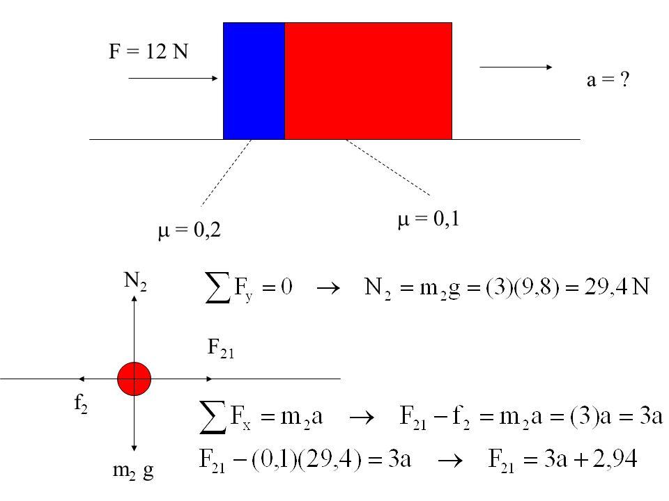  = 0,2  = 0,1 F = 12 N a = ? N2N2 m 2 g F 21 f2f2