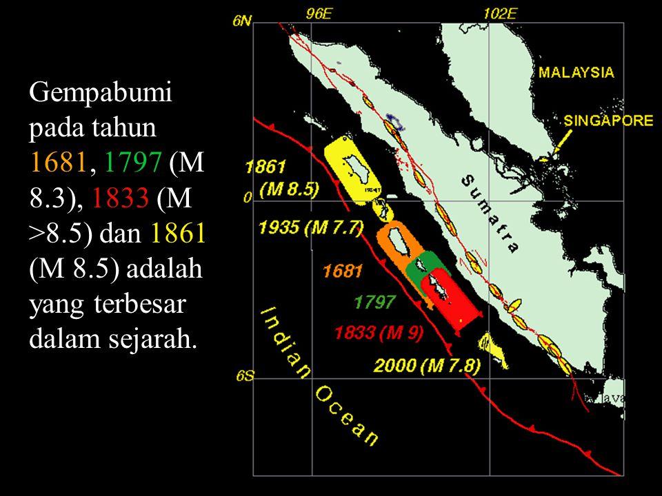 Gempabumi pada tahun 1681, 1797 (M 8.3), 1833 (M >8.5) dan 1861 (M 8.5) adalah yang terbesar dalam sejarah.