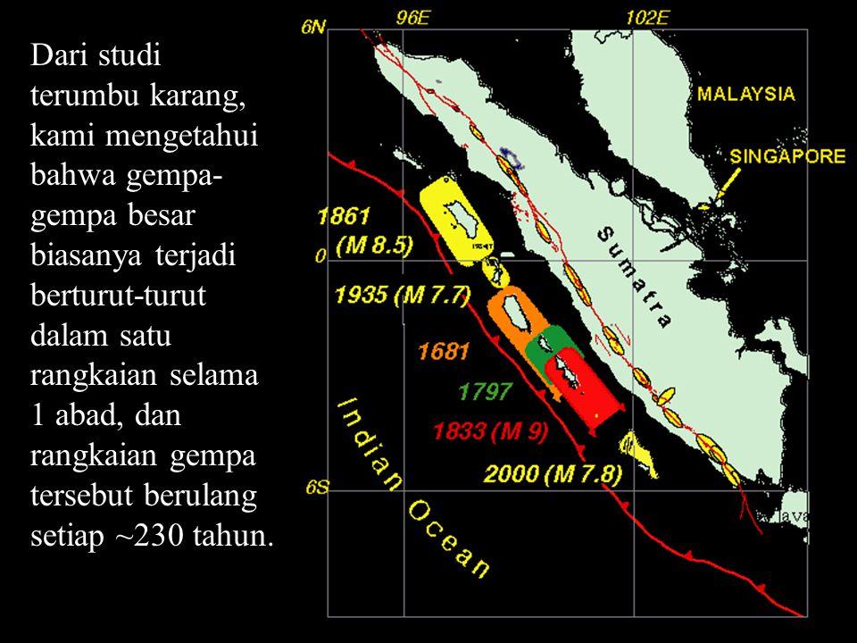 Dari studi terumbu karang, kami mengetahui bahwa gempa- gempa besar biasanya terjadi berturut-turut dalam satu rangkaian selama 1 abad, dan rangkaian gempa tersebut berulang setiap ~230 tahun.