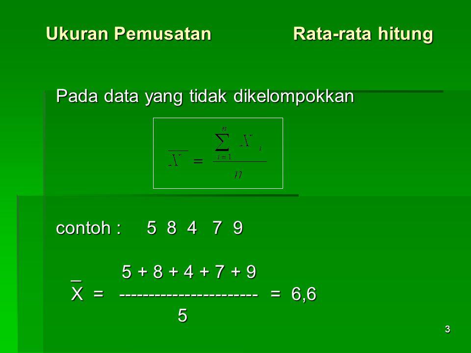 3 Ukuran Pemusatan Rata-rata hitung Pada data yang tidak dikelompokkan contoh : 5 8 4 7 9 _ 5 + 8 + 4 + 7 + 9 _ 5 + 8 + 4 + 7 + 9 X = ----------------------- = 6,6 X = ----------------------- = 6,6 5