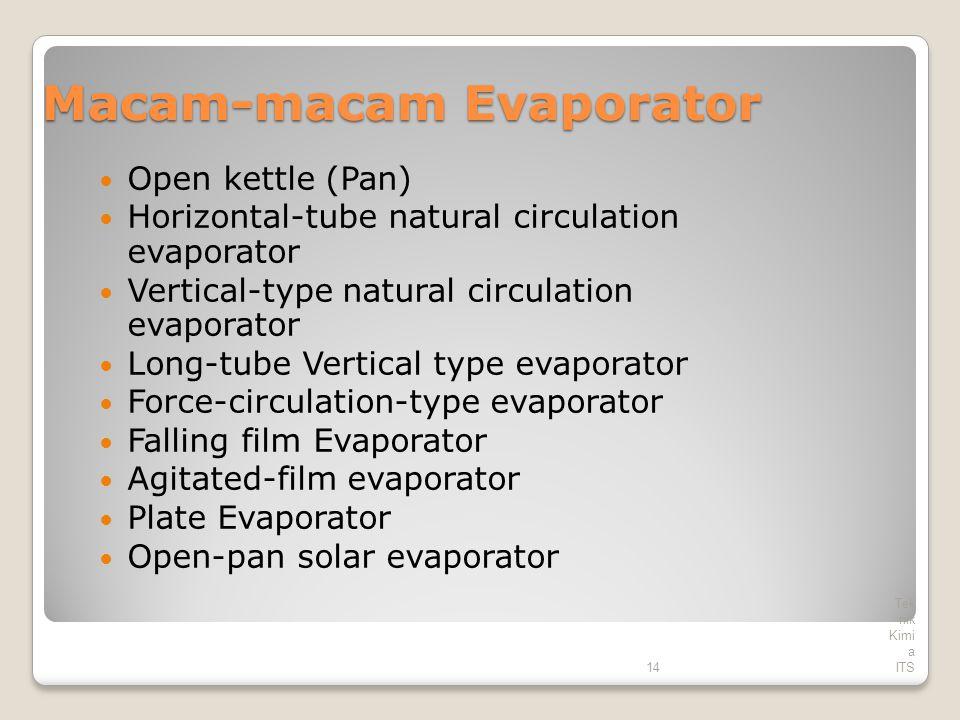14 Tek nik Kimi a ITS Macam-macam Evaporator Open kettle (Pan) Horizontal-tube natural circulation evaporator Vertical-type natural circulation evapor
