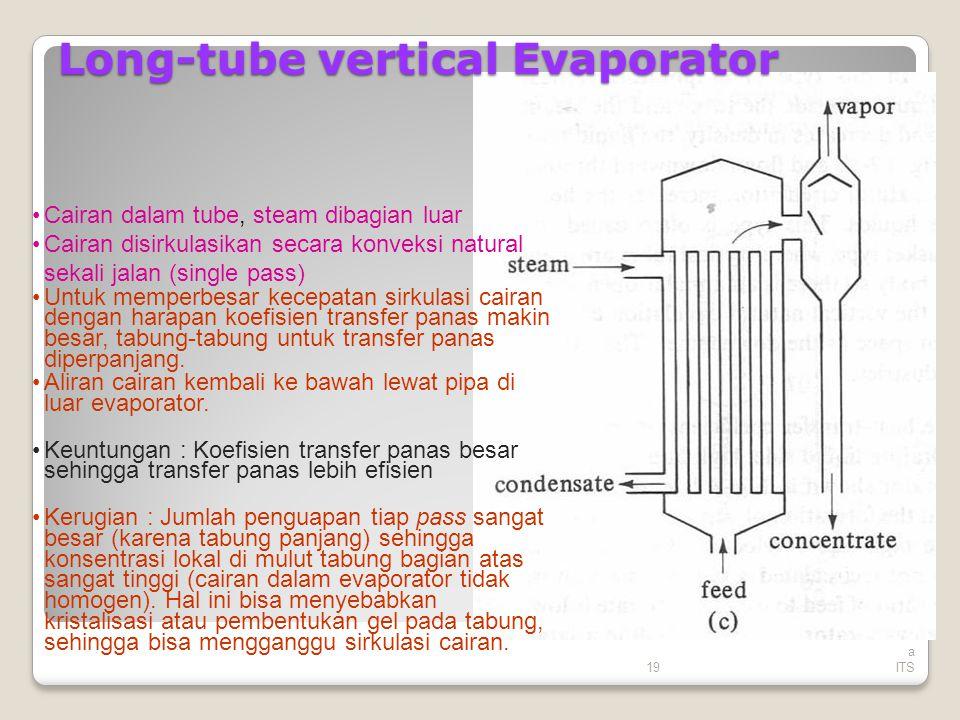 19 Tek nik Kimi a ITS Long-tube vertical Evaporator Cairan dalam tube, steam dibagian luar Cairan disirkulasikan secara konveksi natural sekali jalan