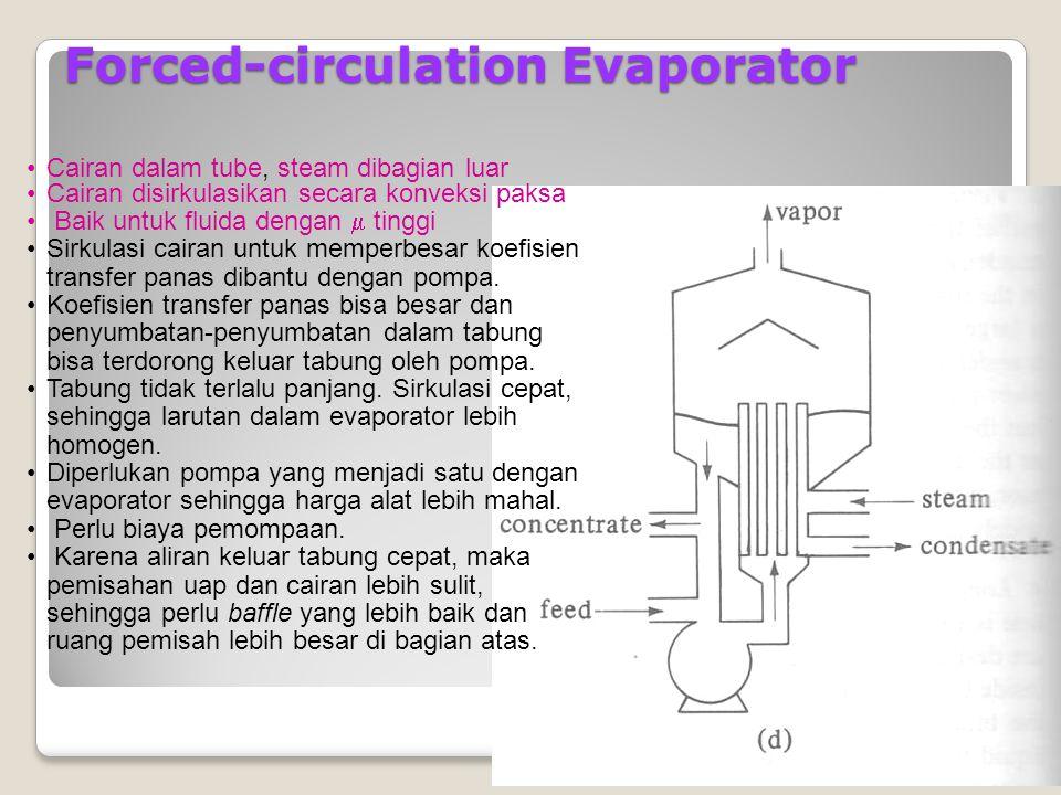 21 Tek nik Kimi a ITS Forced-circulation Evaporator Cairan dalam tube, steam dibagian luar Cairan disirkulasikan secara konveksi paksa Baik untuk fluida dengan  tinggi Sirkulasi cairan untuk memperbesar koefisien transfer panas dibantu dengan pompa.