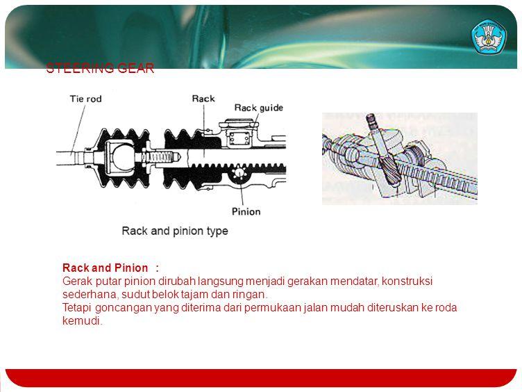 Rack and Pinion : Gerak putar pinion dirubah langsung menjadi gerakan mendatar, konstruksi sederhana, sudut belok tajam dan ringan. Tetapi goncangan y