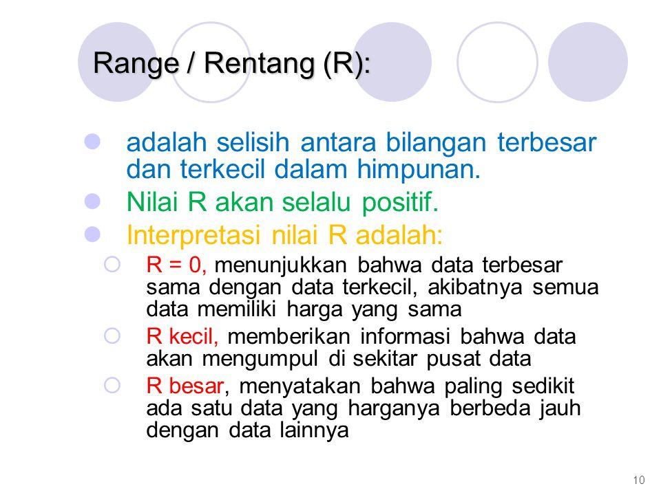 adalah selisih antara bilangan terbesar dan terkecil dalam himpunan. Nilai R akan selalu positif. Interpretasi nilai R adalah:  R = 0, menunjukkan ba