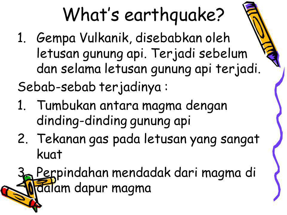Aktivitas Vulkanik (Volcanic Activities) Pergeseran lempeng di dasar laut, selain dapat mengakibatkan gempa juga seringkali menyebabkan peningkatan aktivitas vulkanik pada gunung berapi.