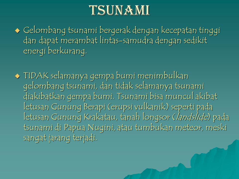 TSUNAMI  Gelombang tsunami bergerak dengan kecepatan tinggi dan dapat merambat lintas-samudra dengan sedikit energi berkurang.