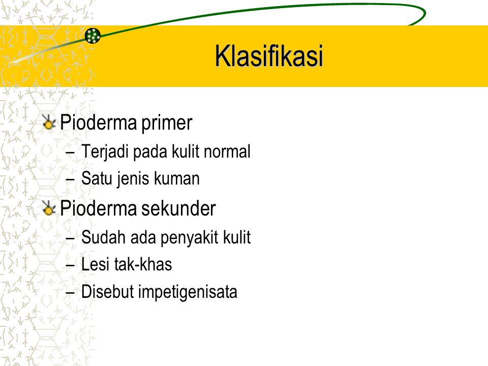 Klasifikasi Pioderma primer –Terjadi pada kulit normal –Satu jenis kuman Pioderma sekunder –Sudah ada penyakit kulit –Lesi tak-khas –Disebut impetigenisata