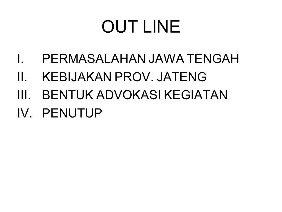 OUT LINE I.PERMASALAHAN JAWA TENGAH II.KEBIJAKAN PROV.