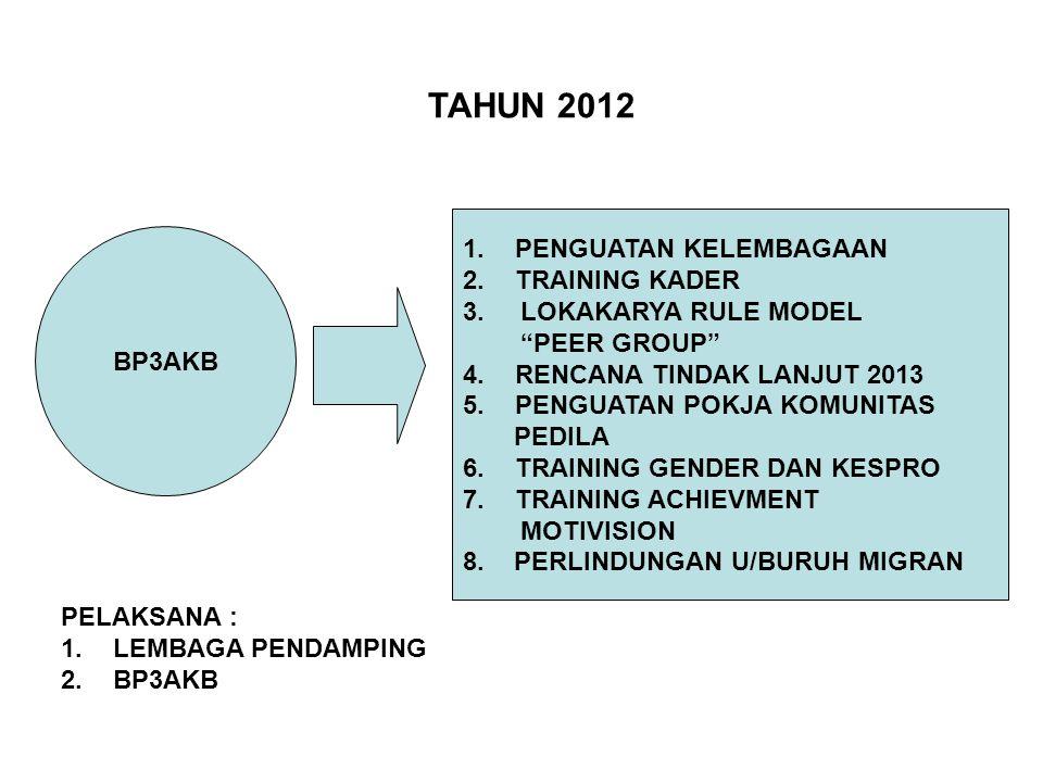 BP3AKB 1.PENGUATAN KELEMBAGAAN 2.TRAINING KADER 3.