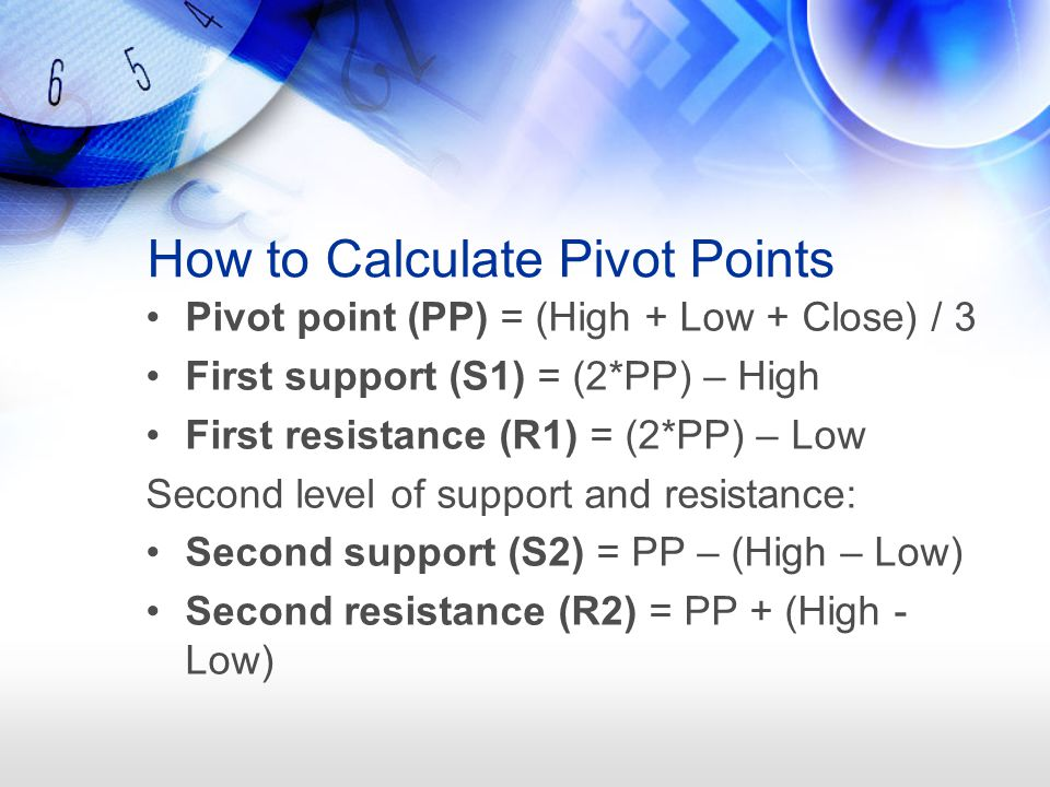 How to Calculate Pivot Points Pivot point (PP) = (High + Low + Close) / 3 First support (S1) = (2*PP) – High First resistance (R1) = (2*PP) – Low Seco
