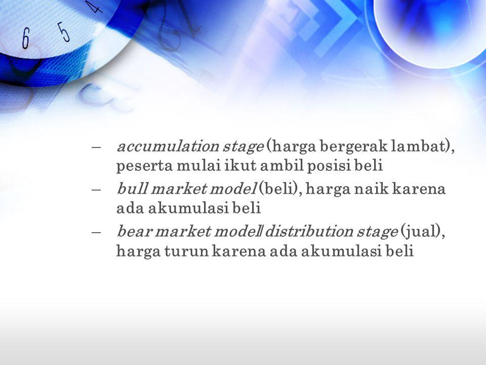 –accumulation stage (harga bergerak lambat), peserta mulai ikut ambil posisi beli –bull market model (beli), harga naik karena ada akumulasi beli –bear market model/distribution stage (jual), harga turun karena ada akumulasi beli