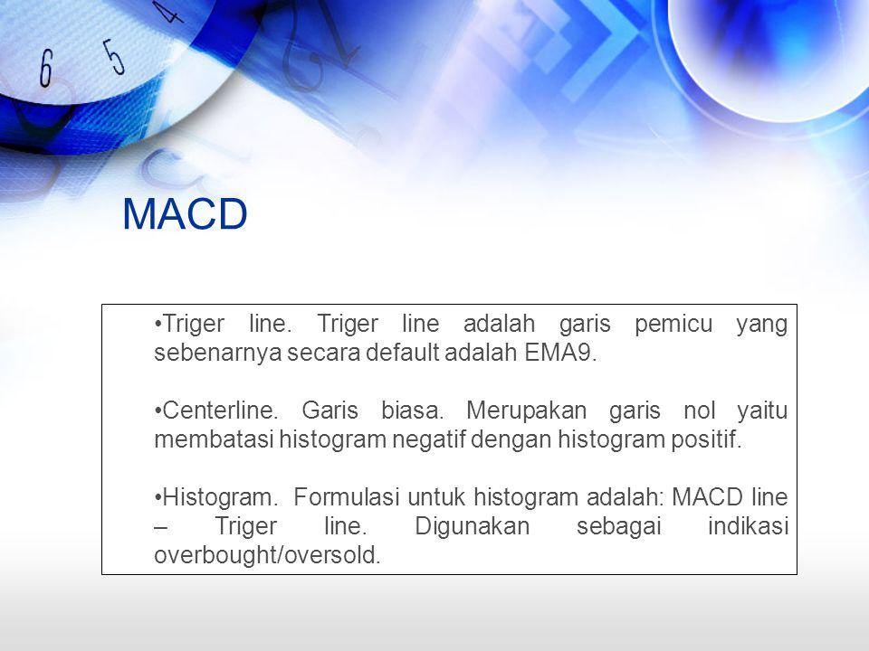 MACD Triger line. Triger line adalah garis pemicu yang sebenarnya secara default adalah EMA9.