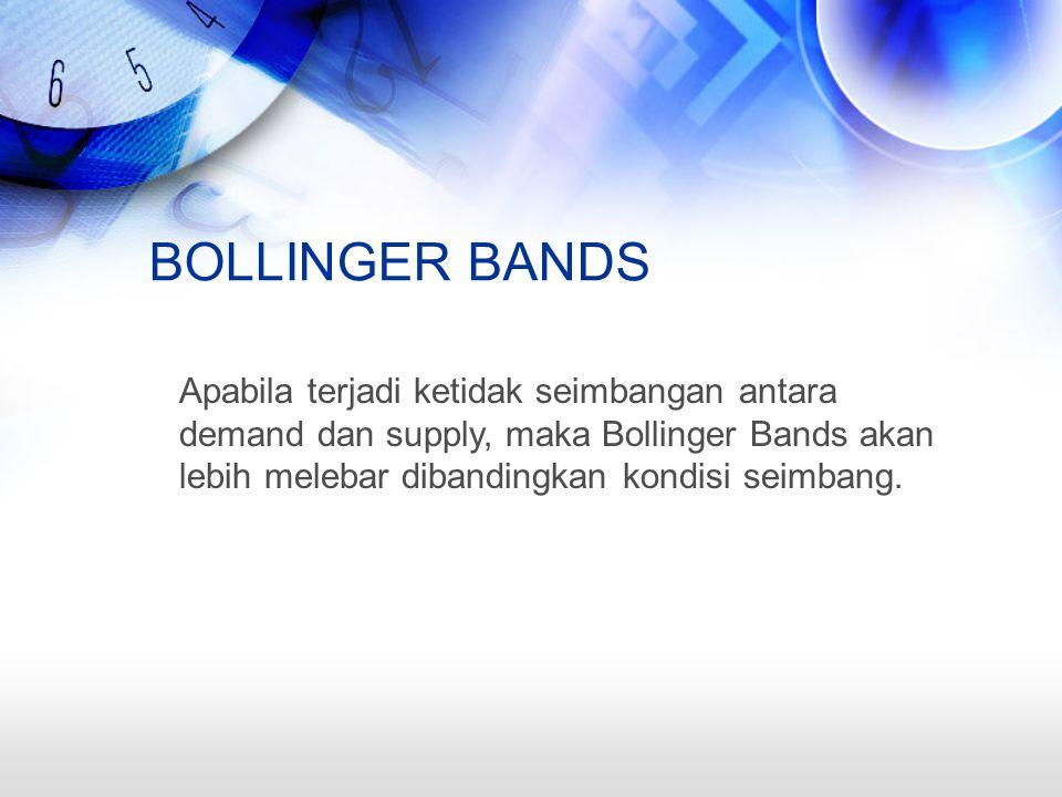 BOLLINGER BANDS Apabila terjadi ketidak seimbangan antara demand dan supply, maka Bollinger Bands akan lebih melebar dibandingkan kondisi seimbang.