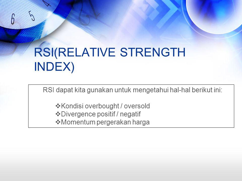 RSI(RELATIVE STRENGTH INDEX) RSI dapat kita gunakan untuk mengetahui hal-hal berikut ini:  Kondisi overbought / oversold  Divergence positif / negatif  Momentum pergerakan harga