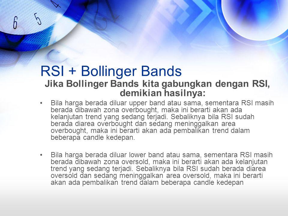RSI + Bollinger Bands Jika Bollinger Bands kita gabungkan dengan RSI, demikian hasilnya: Bila harga berada diluar upper band atau sama, sementara RSI masih berada dibawah zona overbought, maka ini berarti akan ada kelanjutan trend yang sedang terjadi.