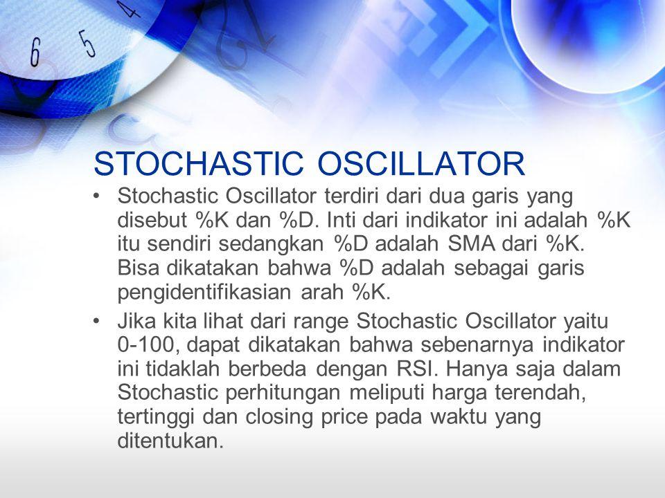 STOCHASTIC OSCILLATOR Stochastic Oscillator terdiri dari dua garis yang disebut %K dan %D.
