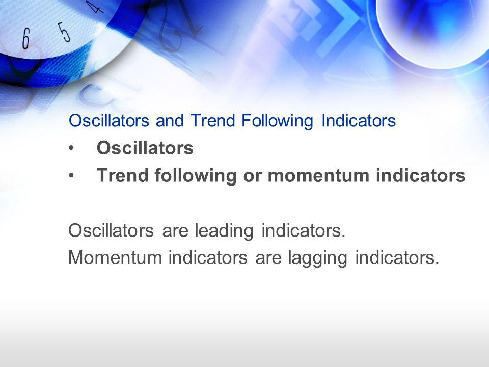 Oscillators and Trend Following Indicators Oscillators Trend following or momentum indicators Oscillators are leading indicators.