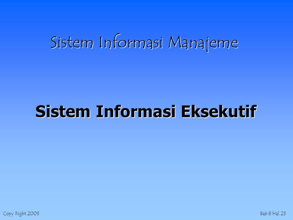 Copy Right 2005Bab 8 Hal 25 Sistem Informasi Manajeme Sistem Informasi Eksekutif