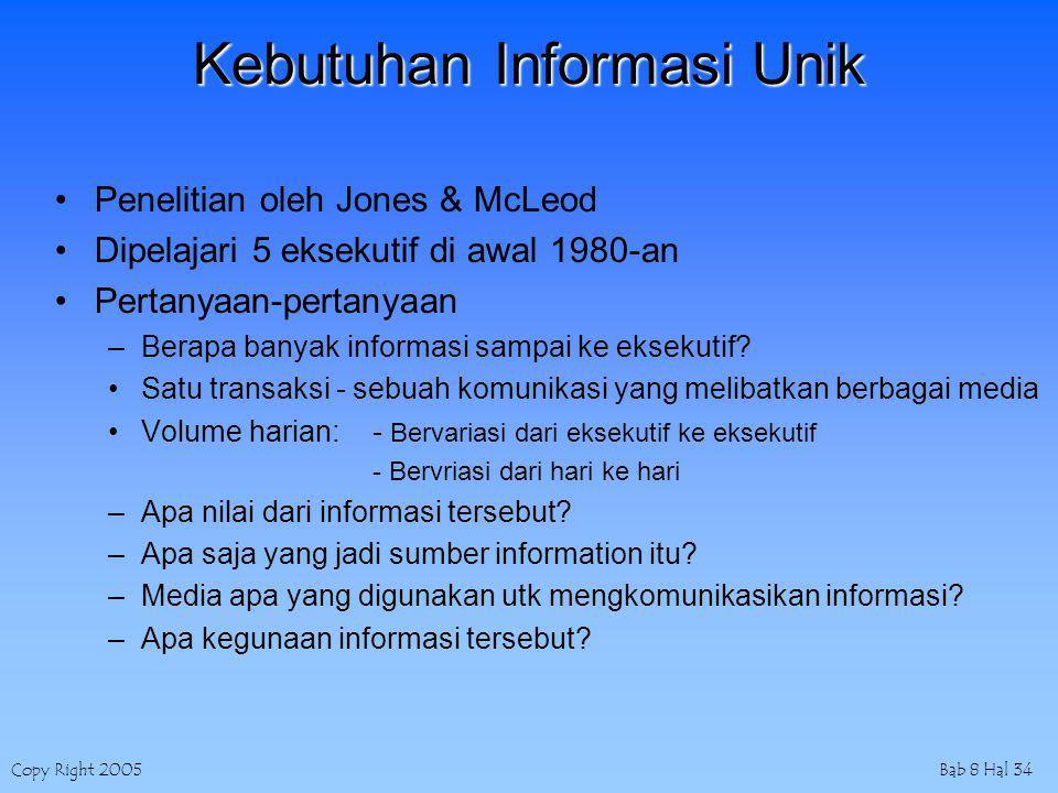 Copy Right 2005Bab 8 Hal 34 Kebutuhan Informasi Unik Penelitian oleh Jones & McLeod Dipelajari 5 eksekutif di awal 1980-an Pertanyaan-pertanyaan –Berapa banyak informasi sampai ke eksekutif.