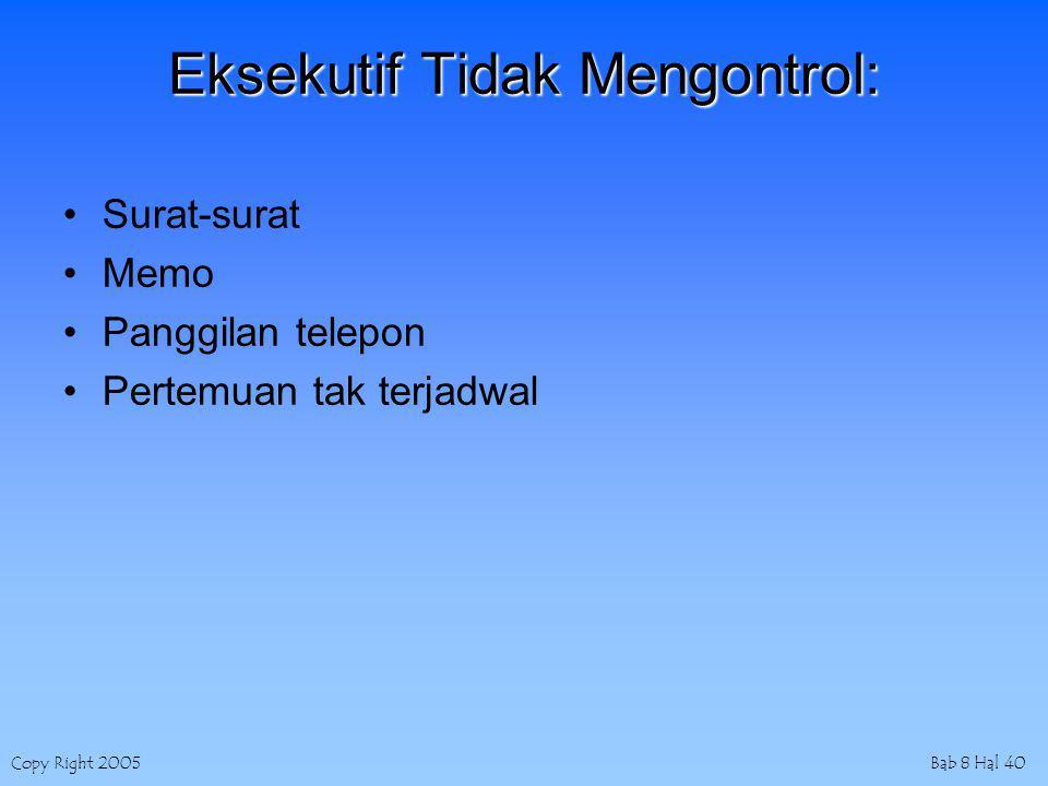 Copy Right 2005Bab 8 Hal 40 Eksekutif Tidak Mengontrol: Surat-surat Memo Panggilan telepon Pertemuan tak terjadwal