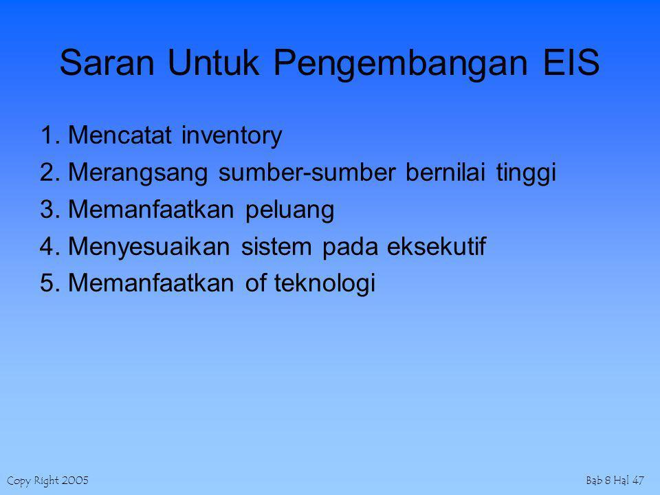 Copy Right 2005Bab 8 Hal 47 Saran Untuk Pengembangan EIS 1. Mencatat inventory 2. Merangsang sumber-sumber bernilai tinggi 3. Memanfaatkan peluang 4.