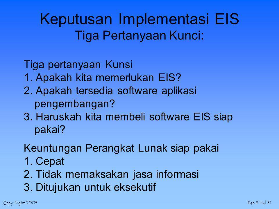 Copy Right 2005Bab 8 Hal 51 Keputusan Implementasi EIS Tiga Pertanyaan Kunci: Tiga pertanyaan Kunsi 1. Apakah kita memerlukan EIS? 2. Apakah tersedia
