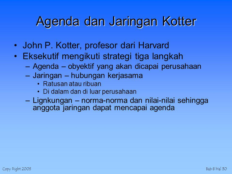 Copy Right 2005Bab 8 Hal 30 Agenda dan Jaringan Kotter John P.