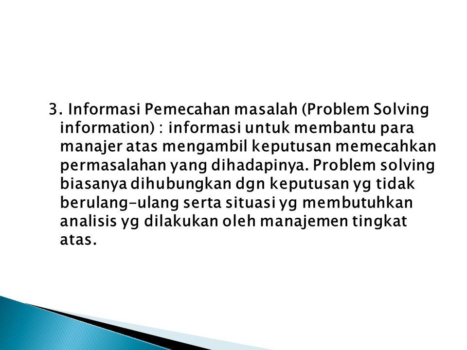 3. Informasi Pemecahan masalah (Problem Solving information) : informasi untuk membantu para manajer atas mengambil keputusan memecahkan permasalahan