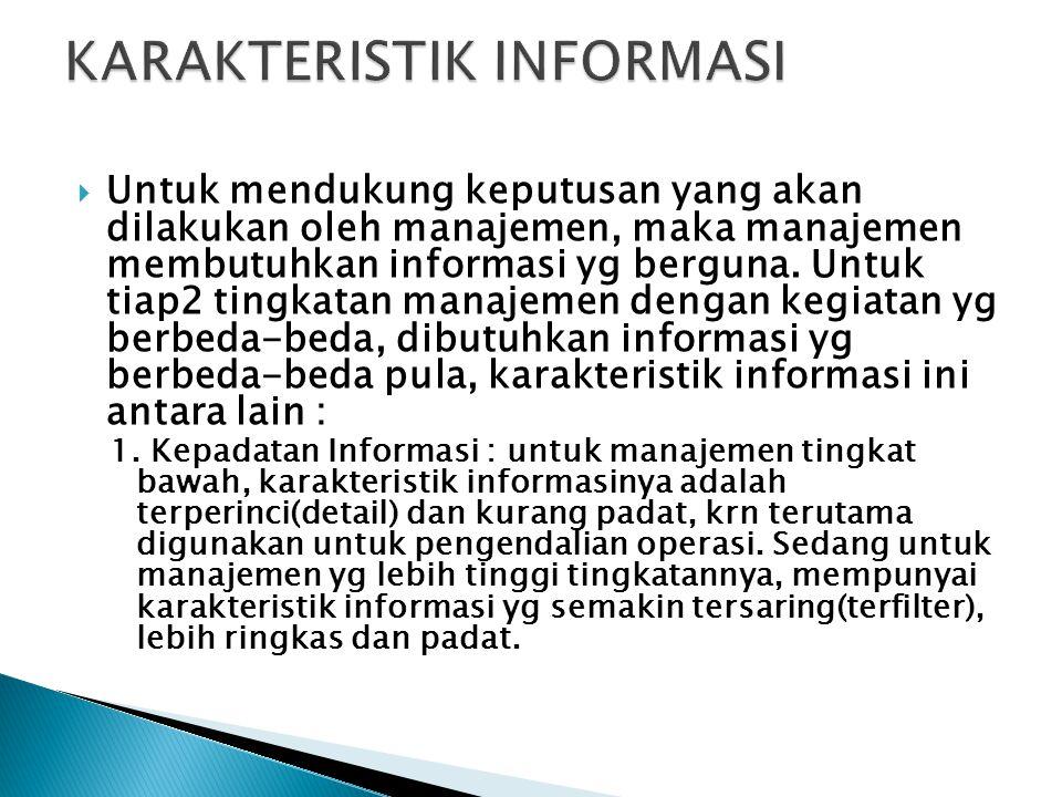  Untuk mendukung keputusan yang akan dilakukan oleh manajemen, maka manajemen membutuhkan informasi yg berguna. Untuk tiap2 tingkatan manajemen denga